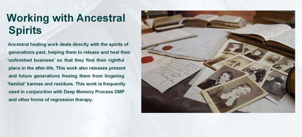 Ancestral healing and Spirit Release with Deep Memory Process Training International created by Roger Woolger